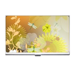 Beautiful Yellow Flowers With Dragonflies Business Card Holders by FantasyWorld7