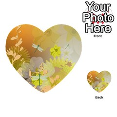 Beautiful Yellow Flowers With Dragonflies Multi Purpose Cards (heart)  by FantasyWorld7