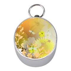 Beautiful Yellow Flowers With Dragonflies Mini Silver Compasses by FantasyWorld7