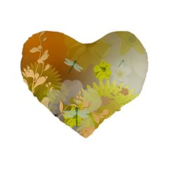 Beautiful Yellow Flowers With Dragonflies Standard 16  Premium Flano Heart Shape Cushions by FantasyWorld7