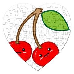 Kawaii Cherry Jigsaw Puzzle (heart) by KawaiiKawaii