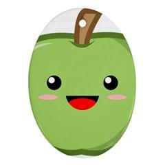 Kawaii Green Apple Ornament (oval)  by KawaiiKawaii
