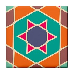 Red Retro Star Tile Coaster by LalyLauraFLM