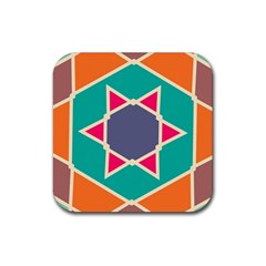 Red Retro Star Rubber Coaster (square) by LalyLauraFLM