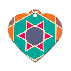 Red Retro Star Dog Tag Heart (one Side) by LalyLauraFLM