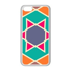 Red Retro Star Apple Iphone 5c Seamless Case (white) by LalyLauraFLM
