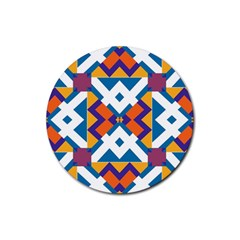 Shapes In Rectangles Pattern Rubber Round Coaster (4 Pack) by LalyLauraFLM