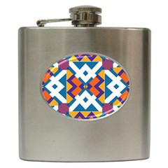 Shapes In Rectangles Pattern Hip Flask (6 Oz) by LalyLauraFLM