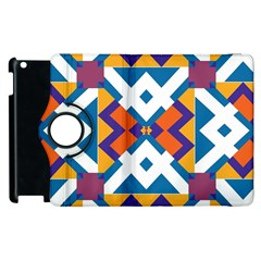 Shapes In Rectangles Pattern Apple Ipad 3/4 Flip 360 Case by LalyLauraFLM