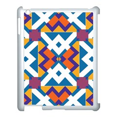 Shapes In Rectangles Pattern Apple Ipad 3/4 Case (white) by LalyLauraFLM