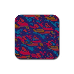 Chaos In Retro Colors Rubber Square Coaster (4 Pack) by LalyLauraFLM