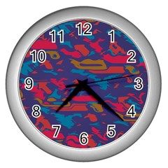 Chaos In Retro Colors Wall Clock (silver) by LalyLauraFLM