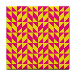 Pink And Yellow Shapes Pattern Tile Coaster by LalyLauraFLM