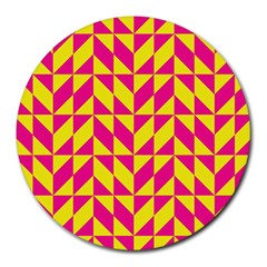 Pink And Yellow Shapes Pattern Round Mousepad by LalyLauraFLM
