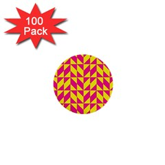 Pink And Yellow Shapes Pattern 1  Mini Button (100 Pack)  by LalyLauraFLM