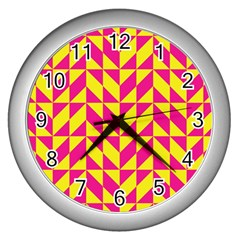 Pink And Yellow Shapes Pattern Wall Clock (silver) by LalyLauraFLM