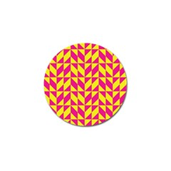 Pink And Yellow Shapes Pattern Golf Ball Marker by LalyLauraFLM