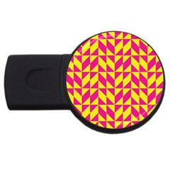 Pink And Yellow Shapes Pattern Usb Flash Drive Round (4 Gb) by LalyLauraFLM