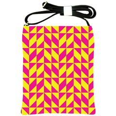 Pink And Yellow Shapes Pattern Shoulder Sling Bag by LalyLauraFLM