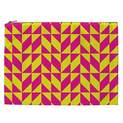 Pink And Yellow Shapes Pattern Cosmetic Bag (xxl) by LalyLauraFLM
