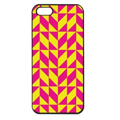 Pink And Yellow Shapes Pattern Apple Iphone 5 Seamless Case (black) by LalyLauraFLM