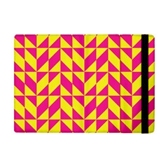 Pink And Yellow Shapes Pattern Apple Ipad Mini Flip Case by LalyLauraFLM
