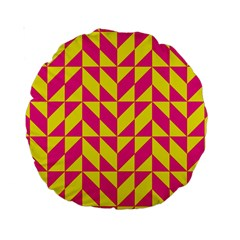 Pink And Yellow Shapes Pattern Standard 15  Premium Round Cushion  by LalyLauraFLM