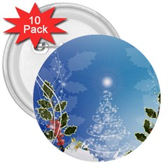 Christmas Tree 3  Buttons (10 Pack)  by FantasyWorld7