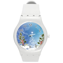 Christmas Tree Round Plastic Sport Watch (m) by FantasyWorld7