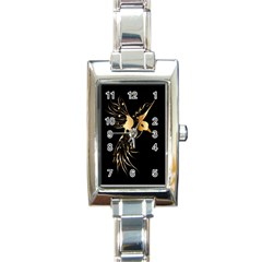 Beautiful Bird In Gold And Black Rectangle Italian Charm Watches