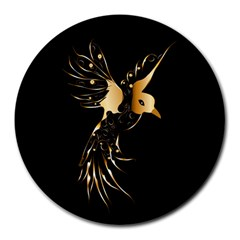 Beautiful Bird In Gold And Black Round Mousepads