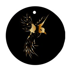 Beautiful Bird In Gold And Black Ornament (round)