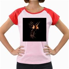 Beautiful Bird In Gold And Black Women s Cap Sleeve T Shirt