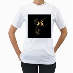 Beautiful Bird In Gold And Black Women s T Shirt (white) (two Sided)