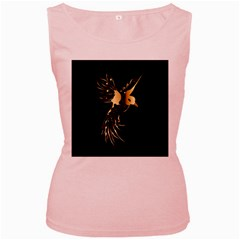 Beautiful Bird In Gold And Black Women s Pink Tank Tops