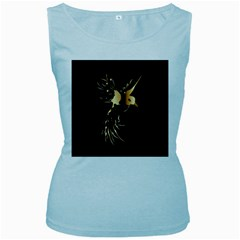 Beautiful Bird In Gold And Black Women s Baby Blue Tank Tops
