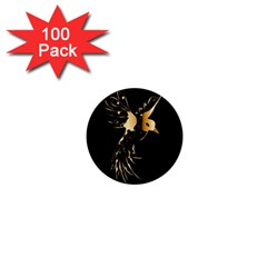 Beautiful Bird In Gold And Black 1  Mini Magnets (100 Pack)