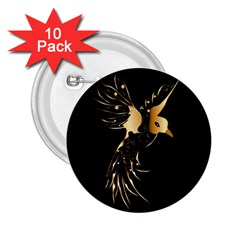 Beautiful Bird In Gold And Black 2 25  Buttons (10 Pack)