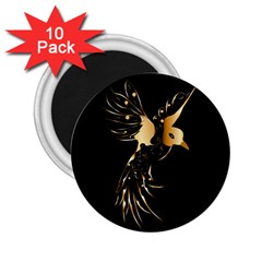 Beautiful Bird In Gold And Black 2 25  Magnets (10 Pack)