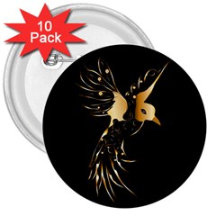Beautiful Bird In Gold And Black 3  Buttons (10 Pack)