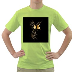 Beautiful Bird In Gold And Black Green T Shirt