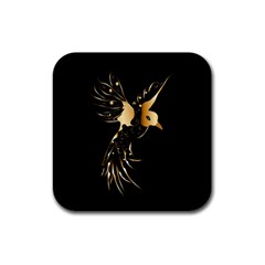 Beautiful Bird In Gold And Black Rubber Square Coaster (4 Pack)