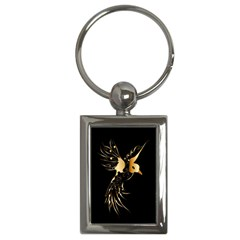 Beautiful Bird In Gold And Black Key Chains (rectangle)