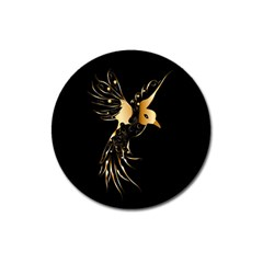Beautiful Bird In Gold And Black Magnet 3  (round)