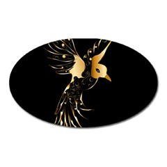 Beautiful Bird In Gold And Black Oval Magnet