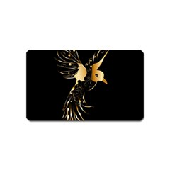 Beautiful Bird In Gold And Black Magnet (name Card)