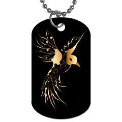 Beautiful Bird In Gold And Black Dog Tag (one Side)