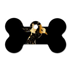 Beautiful Bird In Gold And Black Dog Tag Bone (two Sides)