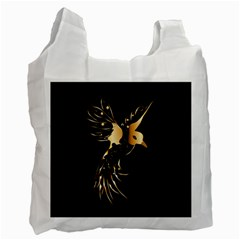 Beautiful Bird In Gold And Black Recycle Bag (two Side)