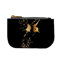Beautiful Bird In Gold And Black Mini Coin Purses